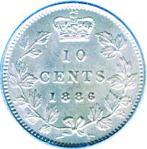 Canada 1886 10 Cents – Victoria Coin Reverse