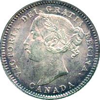 Canada 1891 10 Cents – Victoria Coin Obverse