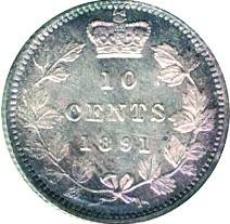 Canada 1891 10 Cents – Victoria Coin Reverse