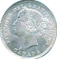 Canada 1896 10 Cents – Victoria Coin Obverse
