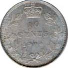Canada 1900 10 Cents – Victoria Coin Reverse