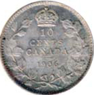 Canada 1906 10 Cents – Edward VII Coin Reverse