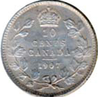 Canada 1907 10 Cents – Edward VII Coin Reverse