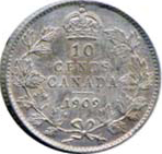 Canada 1909 10 Cents – Edward VII Coin Reverse
