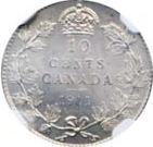 Canada 1911 10 Cents – George V Coin Reverse