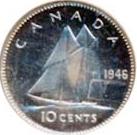 Canada 1946 10 Cents – George VI Coin Reverse