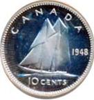 Canada 1948 10 Cents – George VI Coin Reverse