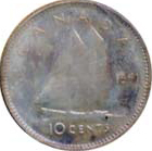 Canada 1951 10 Cents – George VI Coin Reverse
