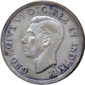 Canada 1939 1 Dollar – George VI Coin Obverse