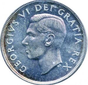 Canada 1950 1 Dollar – George VI Coin Obverse