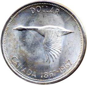 Canada 1967 1 Dollar – Elizabeth II Coin Reverse
