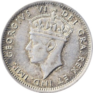 Newfoundland 1941 10 Cents – George VI Coin Obverse