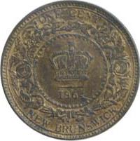 New Brunswick 1864 1 Cent – Victoria Coin Reverse