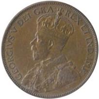 Newfoundland 1936 1 Cent – George V Coin  (Large) Obverse