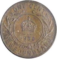 Newfoundland 1936 1 Cent – George V Coin  (Large) Reverse