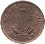 Newfoundland 1942 1 Cent – George VI Coin  (Small) Reverse