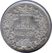 New Brunswick 1862 20 Cents – Victoria Coin Reverse