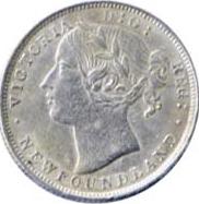 Newfoundland 1865 20 Cents – Victoria Coin Obverse