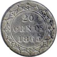 Newfoundland 1865 20 Cents – Victoria Coin Reverse