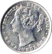 Newfoundland 1876 20 Cents – Victoria Coin Obverse