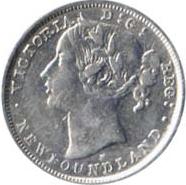 Newfoundland 1881 20 Cents – Victoria Coin Obverse