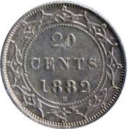 Newfoundland 1882 20 Cents – Victoria Coin Reverse