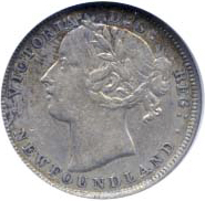 Newfoundland 1885 20 Cents – Victoria Coin Obverse
