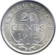 Newfoundland 1912 20 Cents – George V Coin Reverse