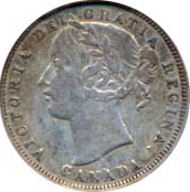 Canada 1858 20 Cents – Victoria Coin Obverse