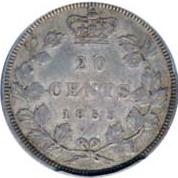 Canada 1858 20 Cents – Victoria Coin Reverse