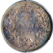 Canada 1870 25 Cents – Victoria Coin Reverse