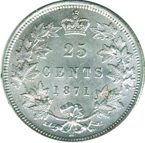 Canada 1871 25 Cents – Victoria Coin Reverse