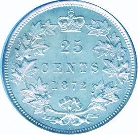 Canada 1872 25 Cents – Victoria Coin Reverse