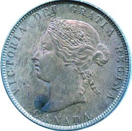 Canada 1874 25 Cents – Victoria Coin Obverse