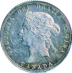 Canada 1886 25 Cents – Victoria Coin Obverse