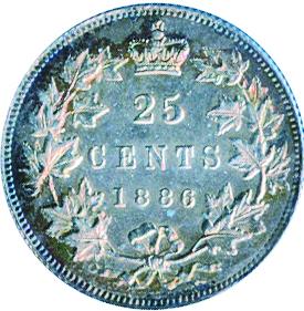 Canada 1886 25 Cents – Victoria Coin Reverse