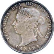 Canada 1893 25 Cents – Victoria Coin Obverse