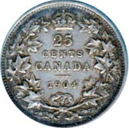 Canada 1904 25 Cents – Edward VII Coin Reverse