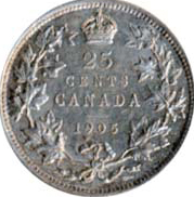 Canada 1905 25 Cents – Edward VII Coin Reverse