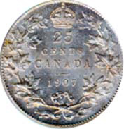 Canada 1907 25 Cents – Edward VII Coin Reverse
