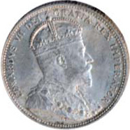 Canada 1910 25 Cents – Edward VII Coin Obverse