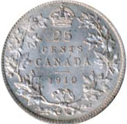 Canada 1910 25 Cents – Edward VII Coin Reverse