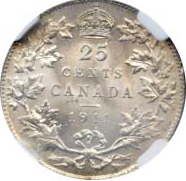 Canada 1911 25 Cents – George V Coin Reverse