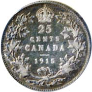 Canada 1915 25 Cents – George V Coin Reverse