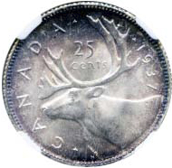 Canada 1937 25 Cents – George VI Coin Reverse