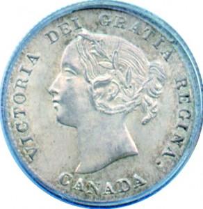 Canada 1872 5 Cents – Victoria Coin Obverse