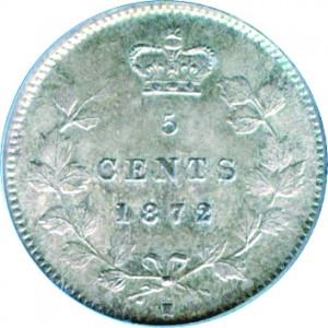 Canada 1872 5 Cents – Victoria Coin Reverse