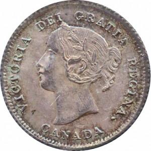 Canada 1874 5 Cents – Victoria Coin Obverse