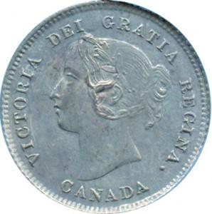 Canada 1875 5 Cents – Victoria Coin Obverse