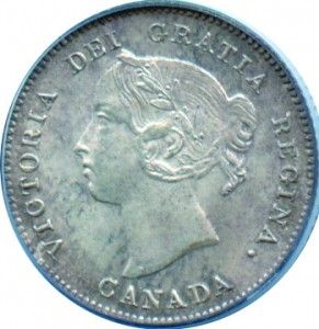 Canada 1883 5 Cents – Victoria Coin Obverse